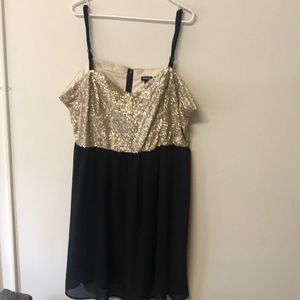 Gold sequin & black babydoll party dress